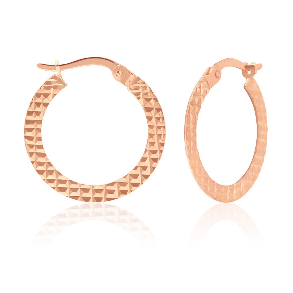 9ct Rose Gold Silver Filled Hoop Earrings