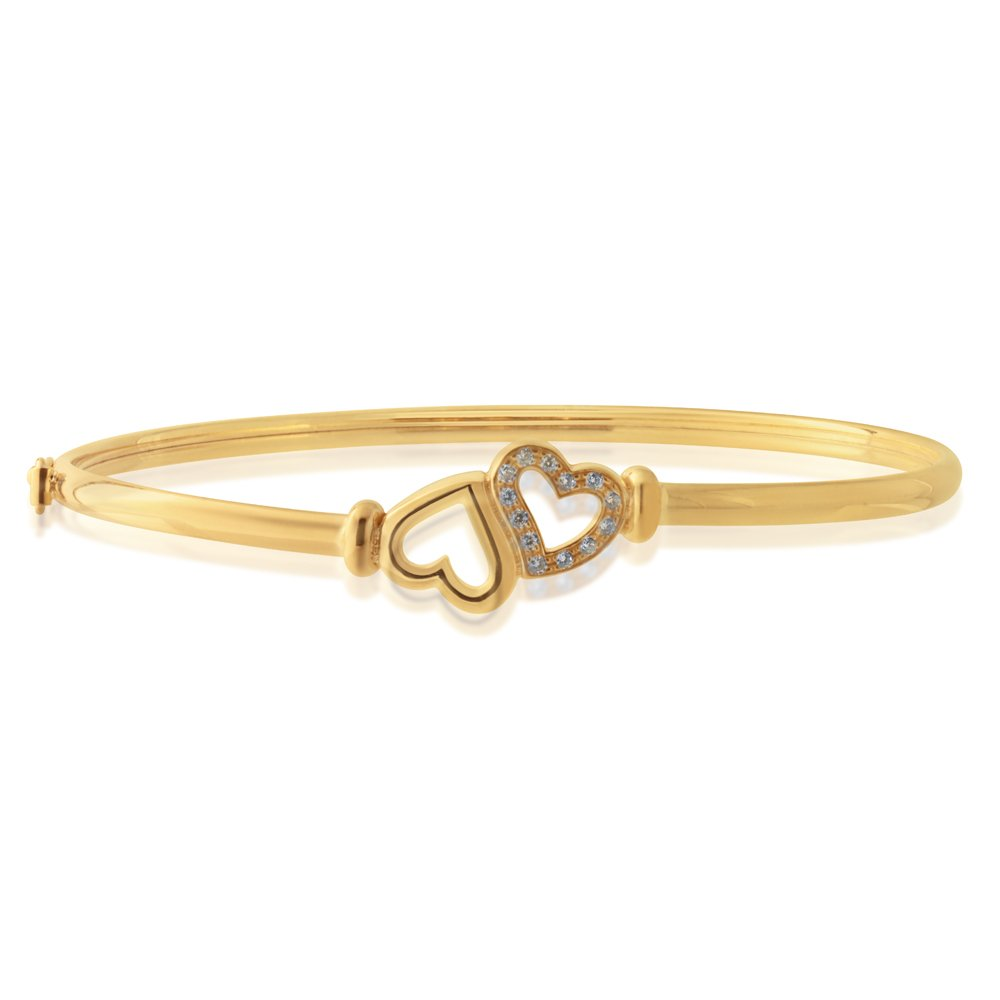 9ct Gold Silverfilled Heart Bangle