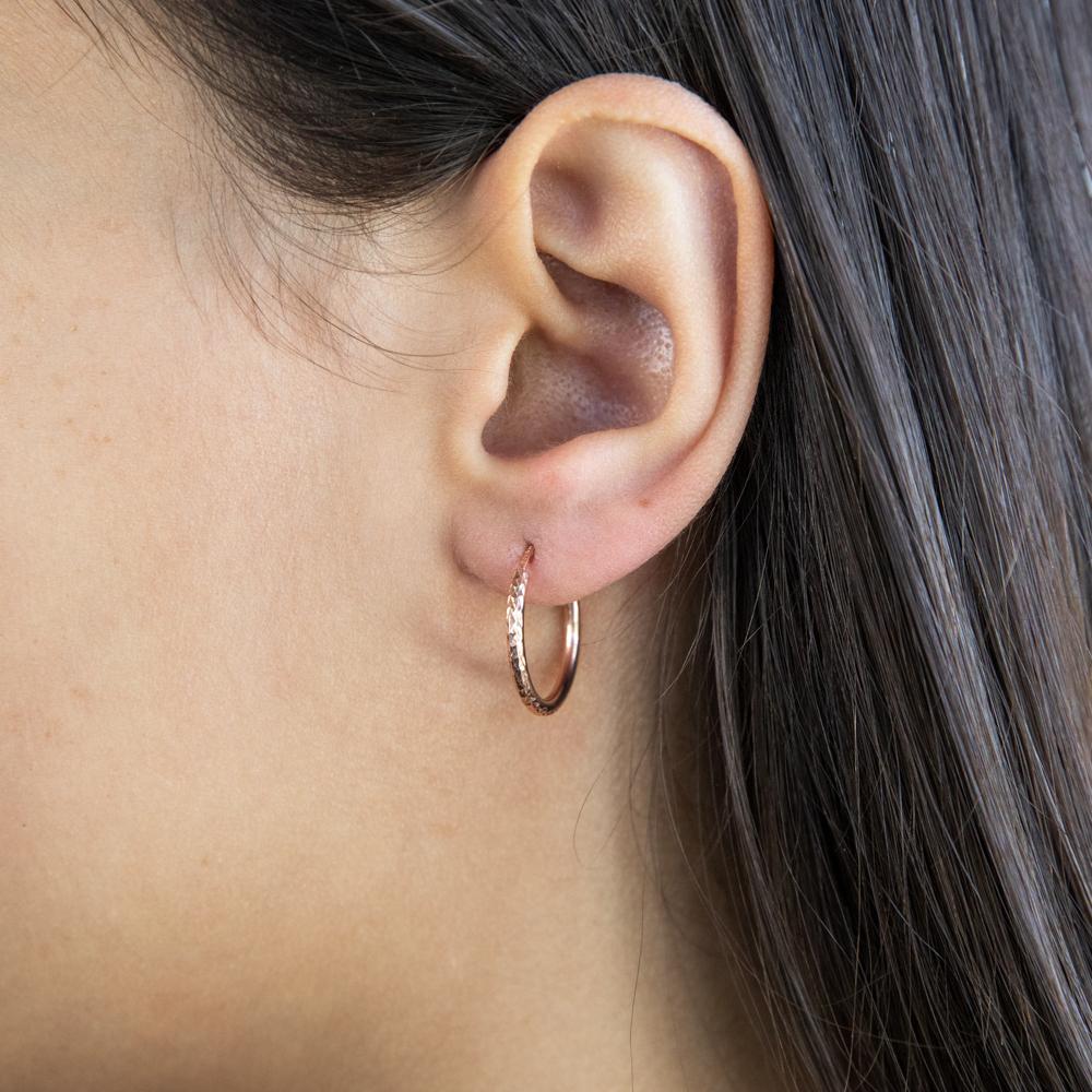 9ct Silverfilled Rose Gold Diamond Cut 15mm Sleeper Earrings