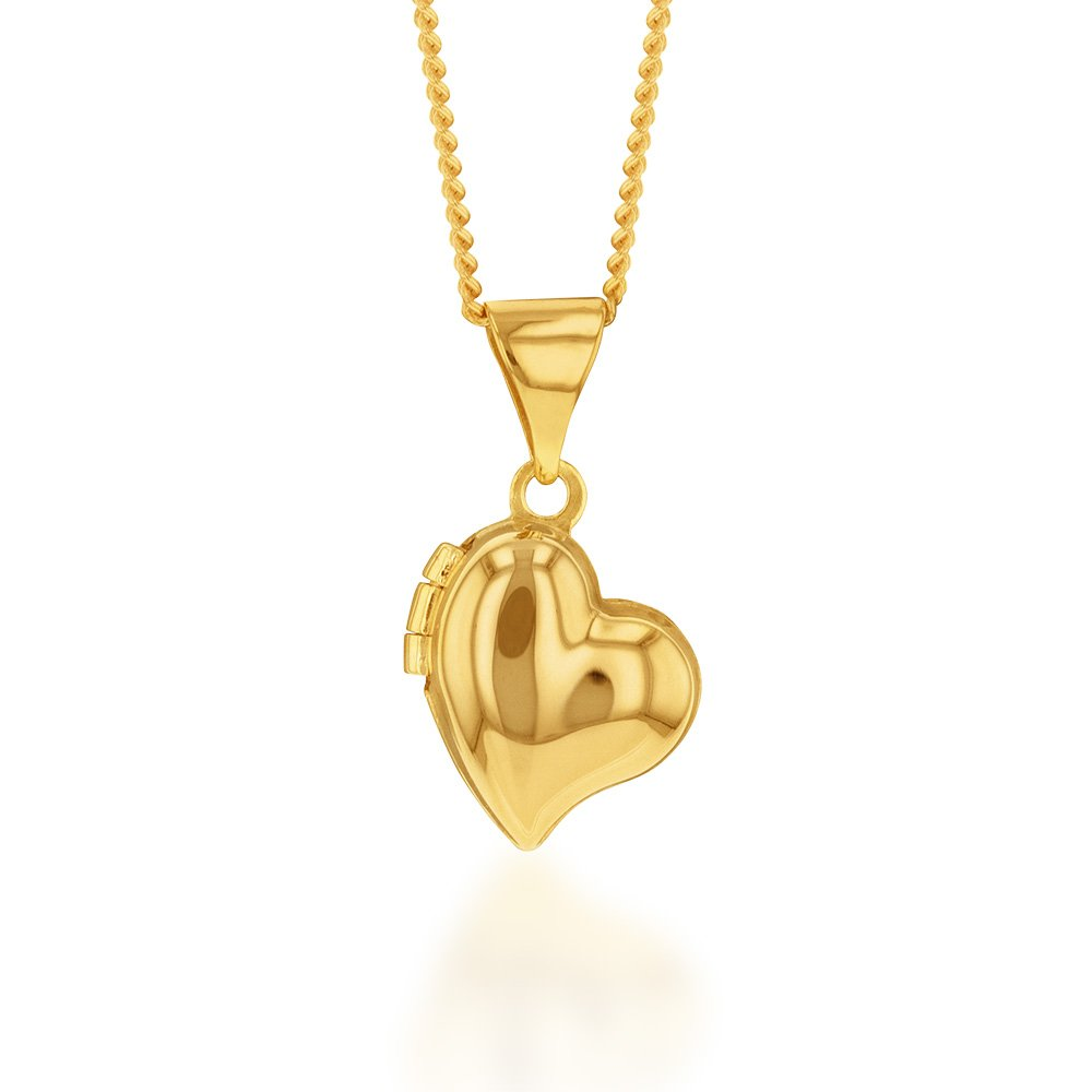 9ct Yellow Gold Silverfilled Heart Locket Pendant