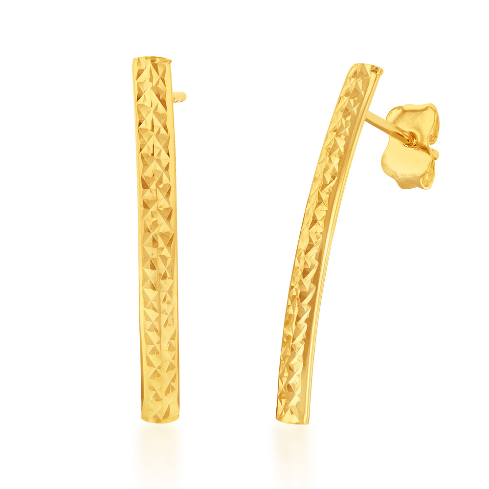 9ct Yellow Gold Silverfilled Patterned Arc Stud Earrings
