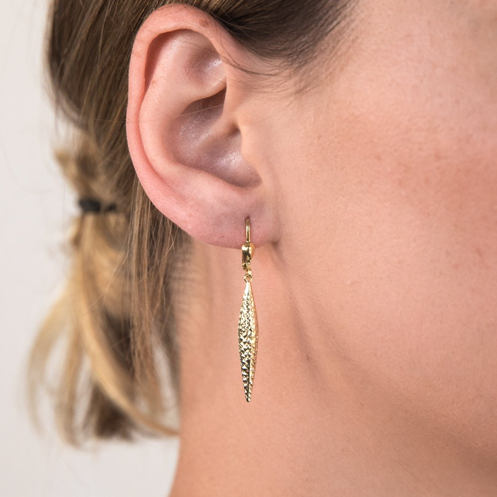 9ct Yellow Gold Silverfilled Patterned Drop Earrings