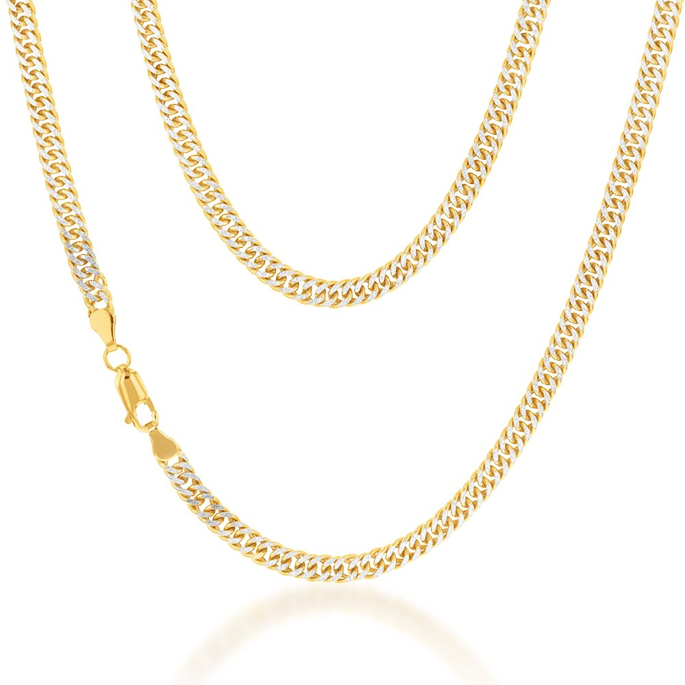 9ct Silverfilled Yellow and White Gold Double Curb 45cm Chain