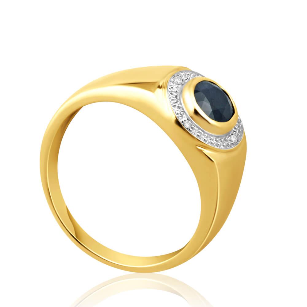 9ct Yellow Gold Natural Black Sapphire + Diamond Gents Ring