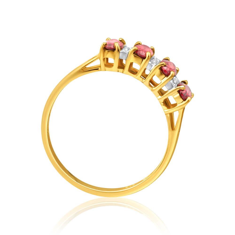 9ct Charming Yellow Gold Diamond + Garnet Ring
