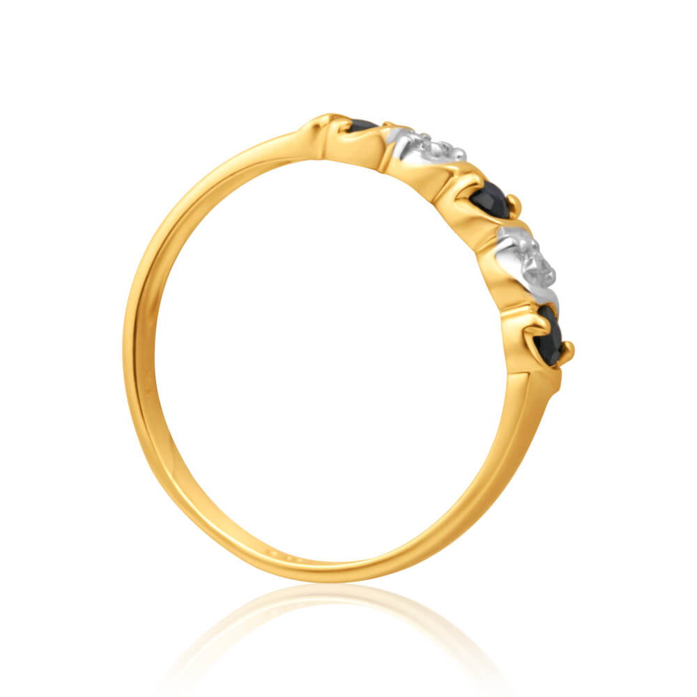 9ct Yellow Gold Exquisite Diamond + Natural Sapphire Ring