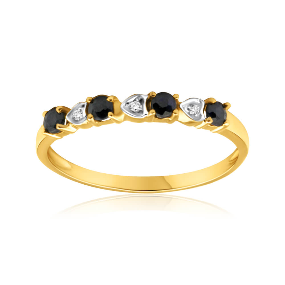9ct Yellow Gold Natural Black Sapphire and 3 x Diamond Ring