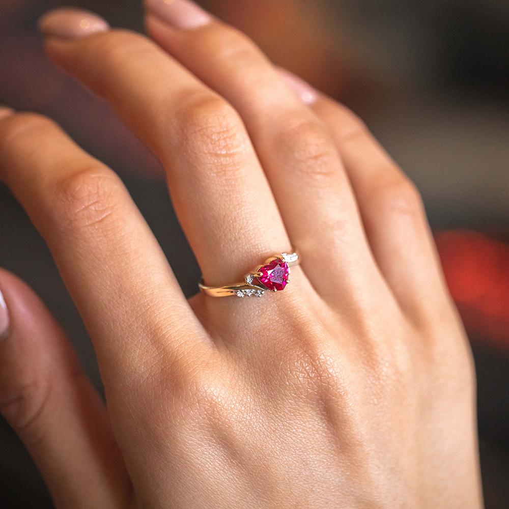 9ct Yellow Gold Heart Created Ruby + Diamond Ring