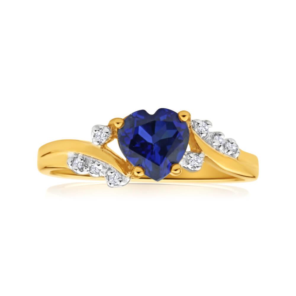 9ct Yellow Gold Created Sapphire Heart + Diamond Ring