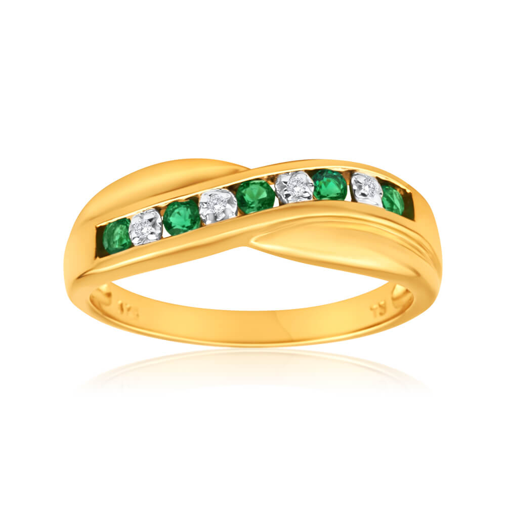 9ct Yellow Gold Created Emerald + Diamond Cross Over Ring