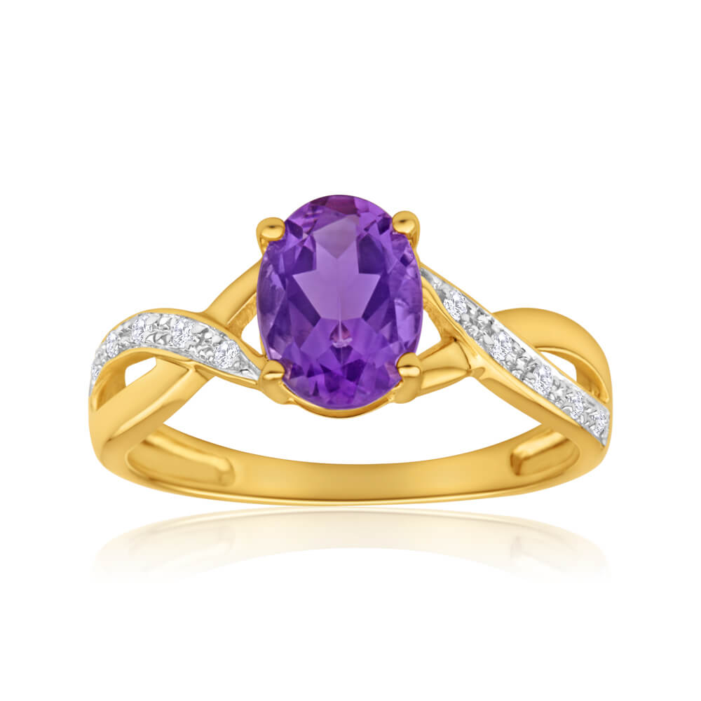 9ct Yellow Gold Amethyst + Diamond Cross Over Ring