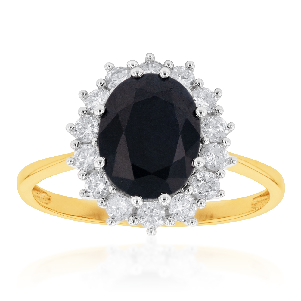 9ct Yellow Gold Natural Sapphire 2.5 Carat 9X7mm Oval with 0.50 Carat Diamonds Ring