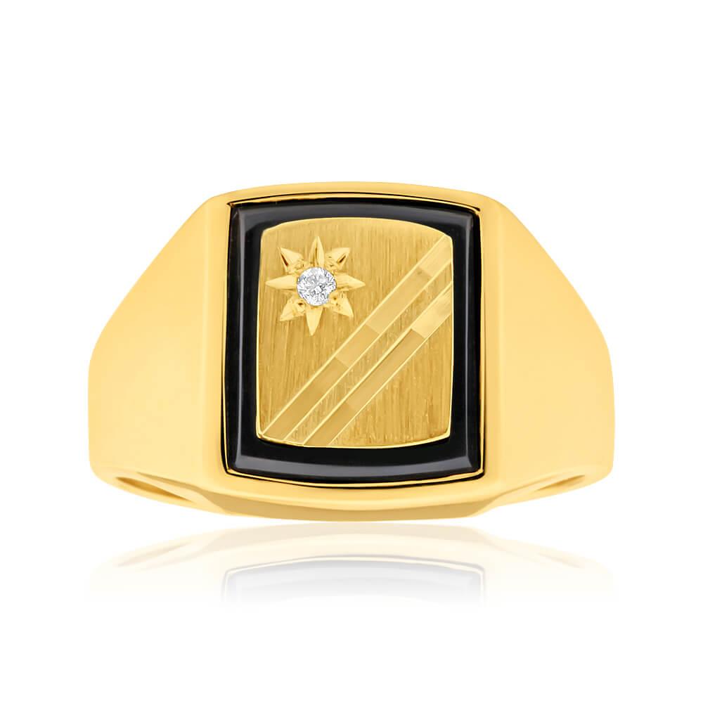 9ct Radiant Yellow Gold Diamond + Onyx Ring