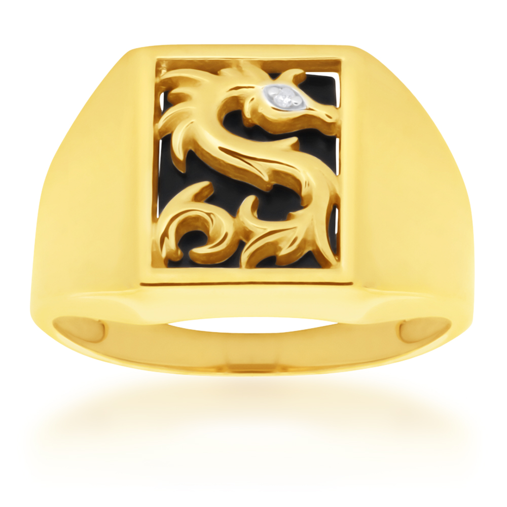 9ct Yellow Gold Onyx and Diamond Dragaon Gents Ring