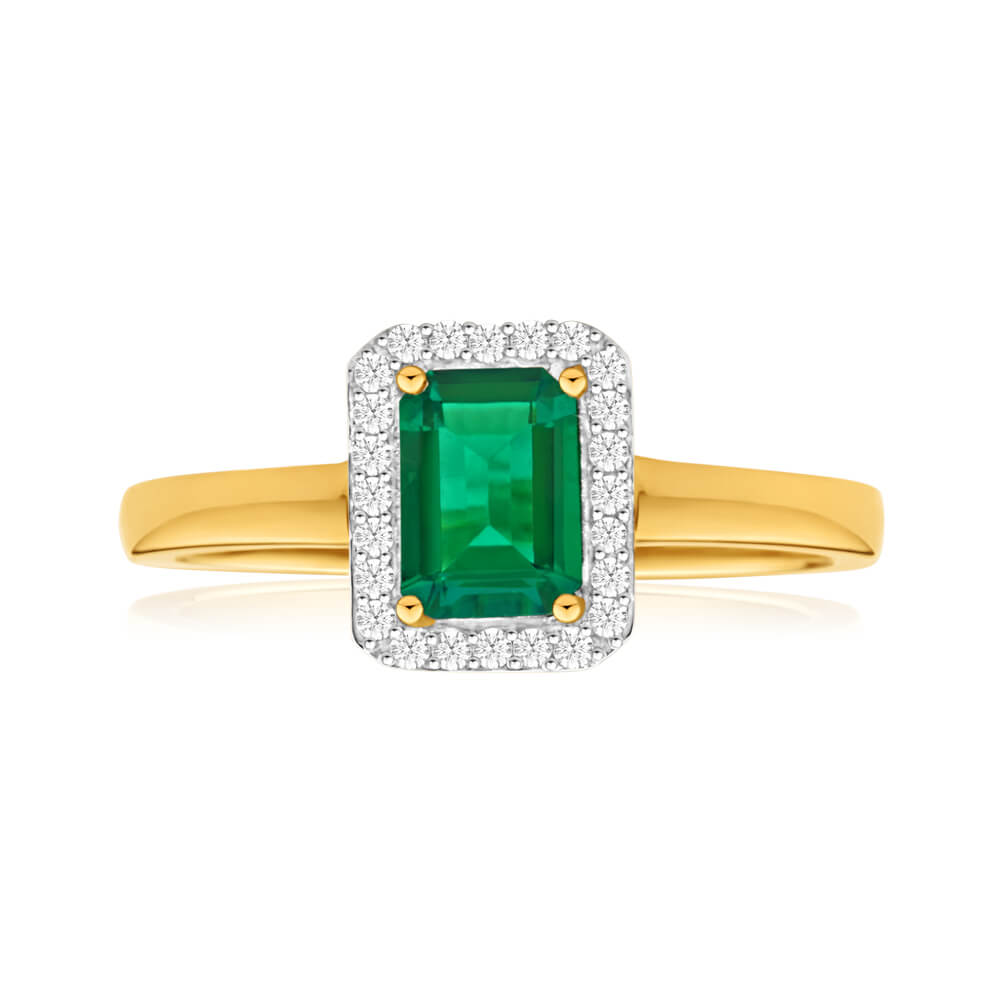 9ct Yellow Gold Created Emerald + Diamond Ring