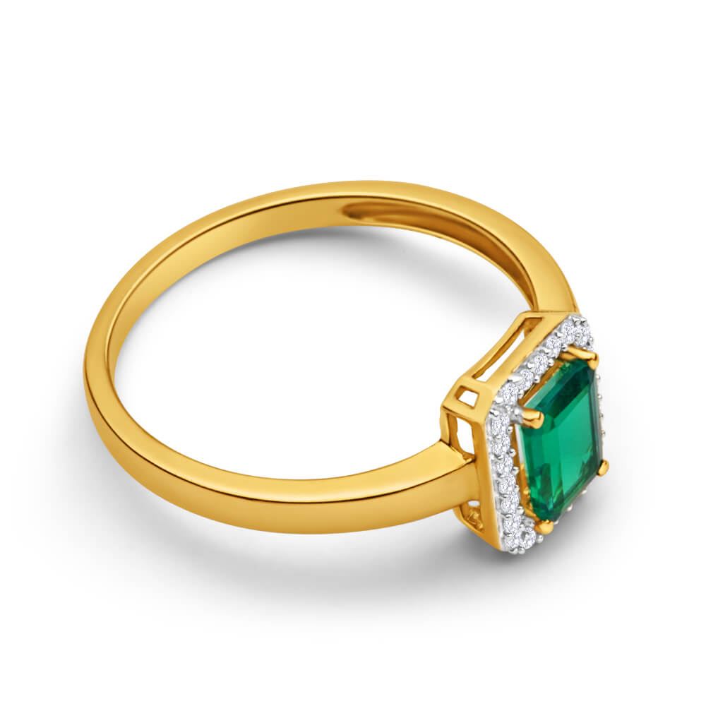 9ct Yellow Gold Created Emerald + Diamond Ring