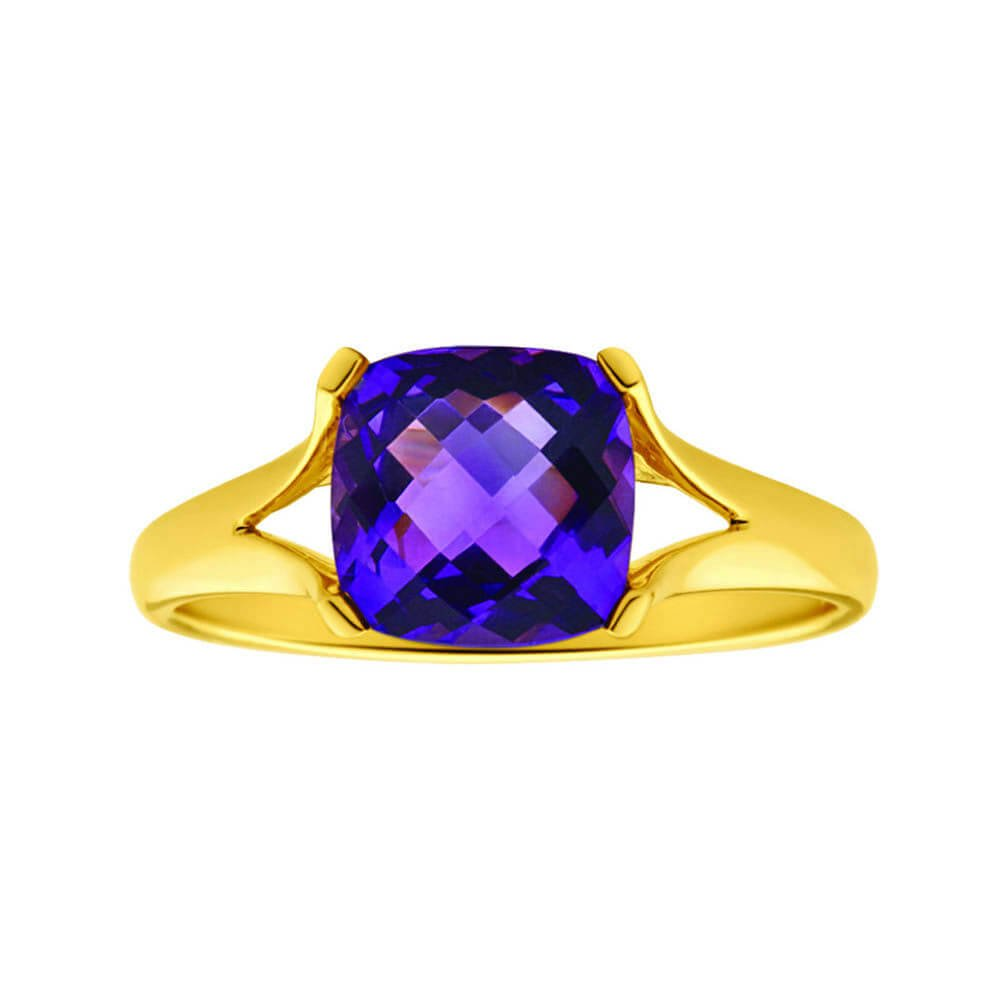 9ct Yellow Gold 8mm Cushion Cut Amethyst Ring
