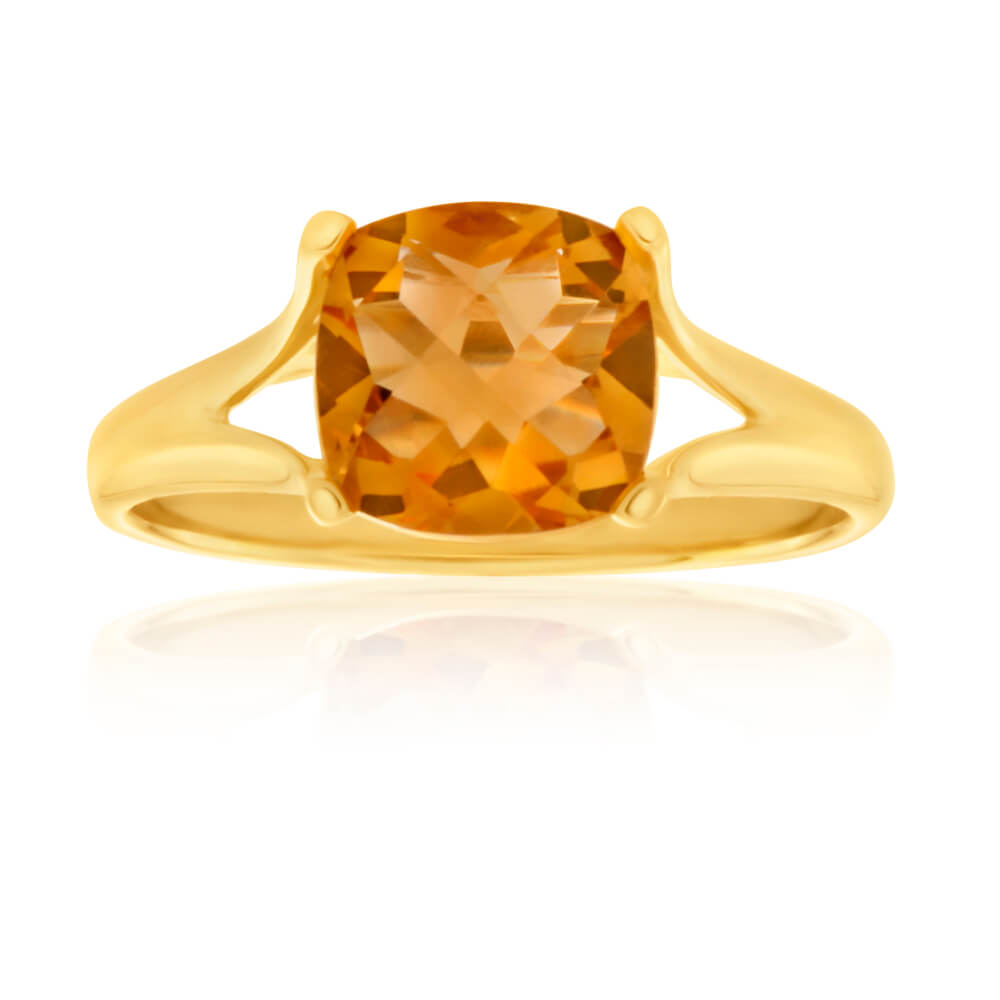 9ct Yellow Gold 8mm Cushion Cut Citrine Ring