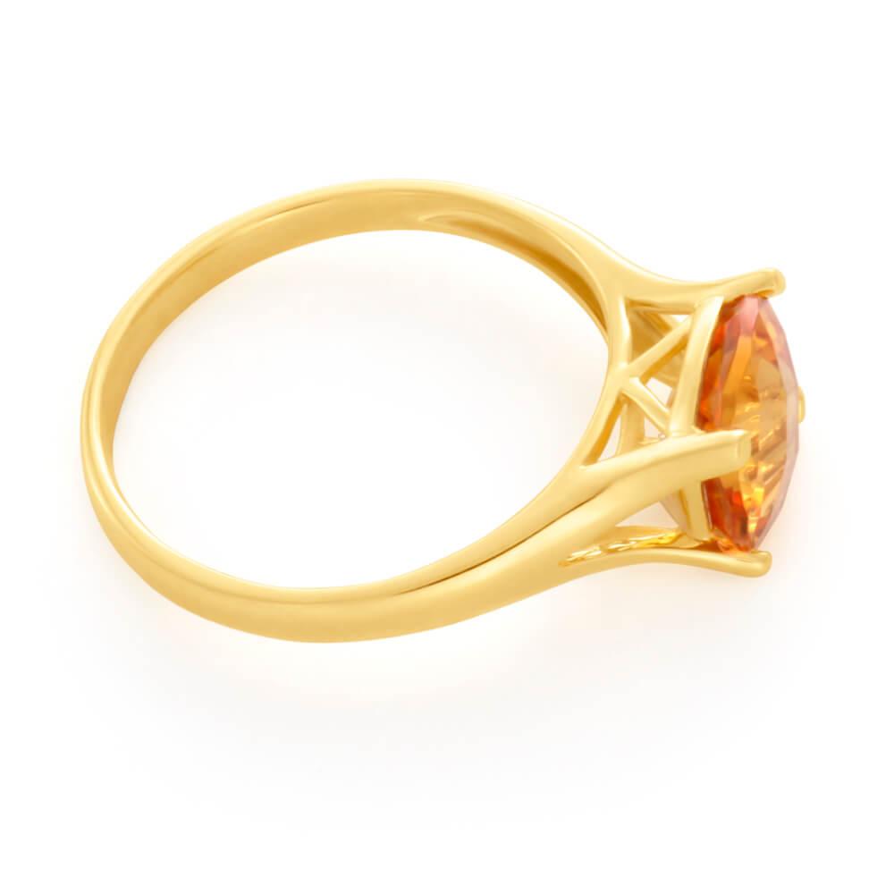 9ct Yellow Gold 8mm Cushion Cut Citrine Ring
