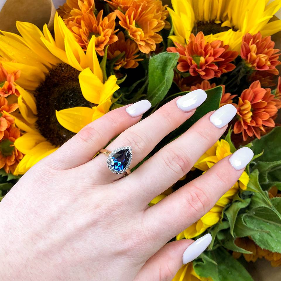9ct Yellow Gold Pear Shaped Created Sapphire and Cubic Zirconia Halo Ring