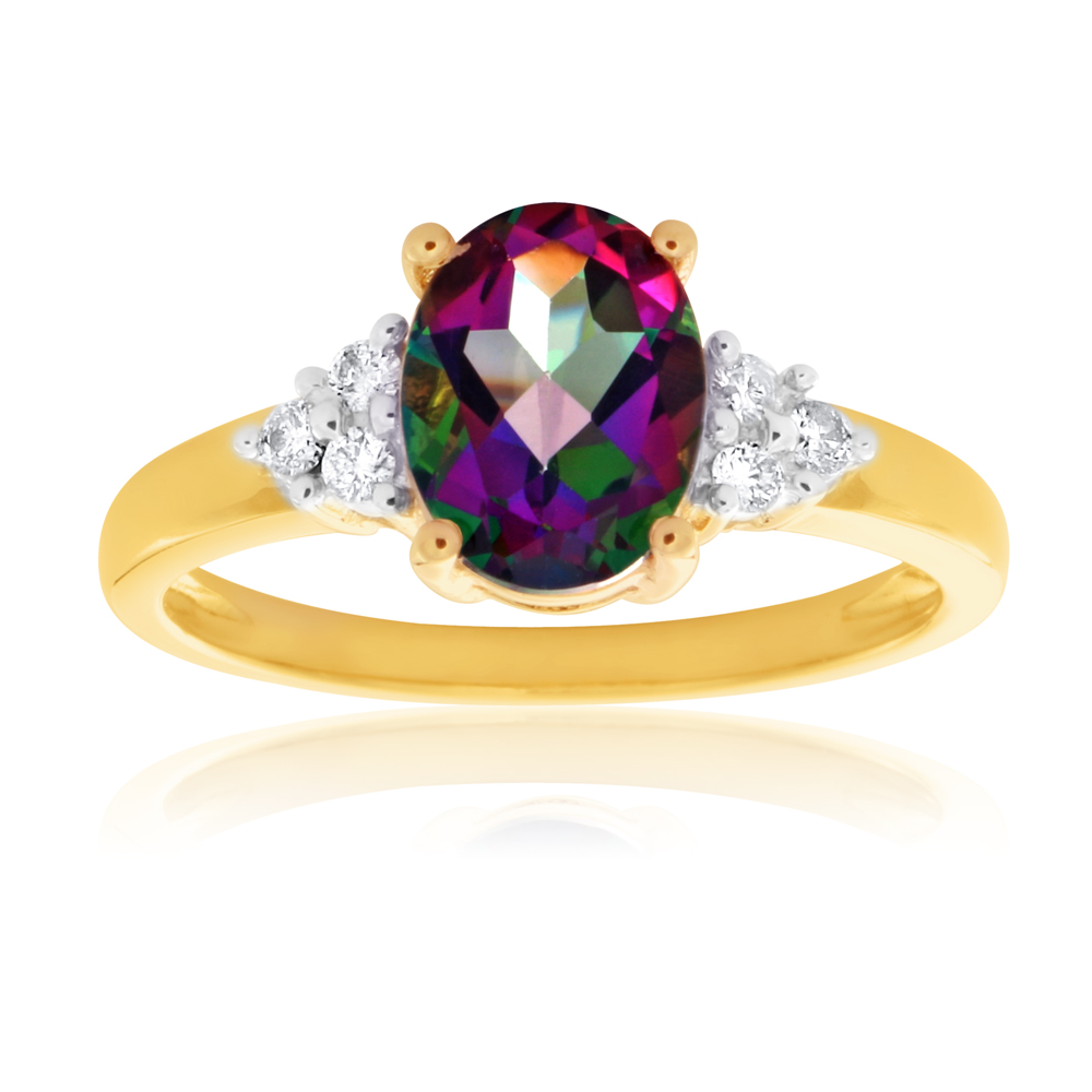 9ct Yellow Gold 8x6mm Oval Mystic Topaz and Diamond Ring