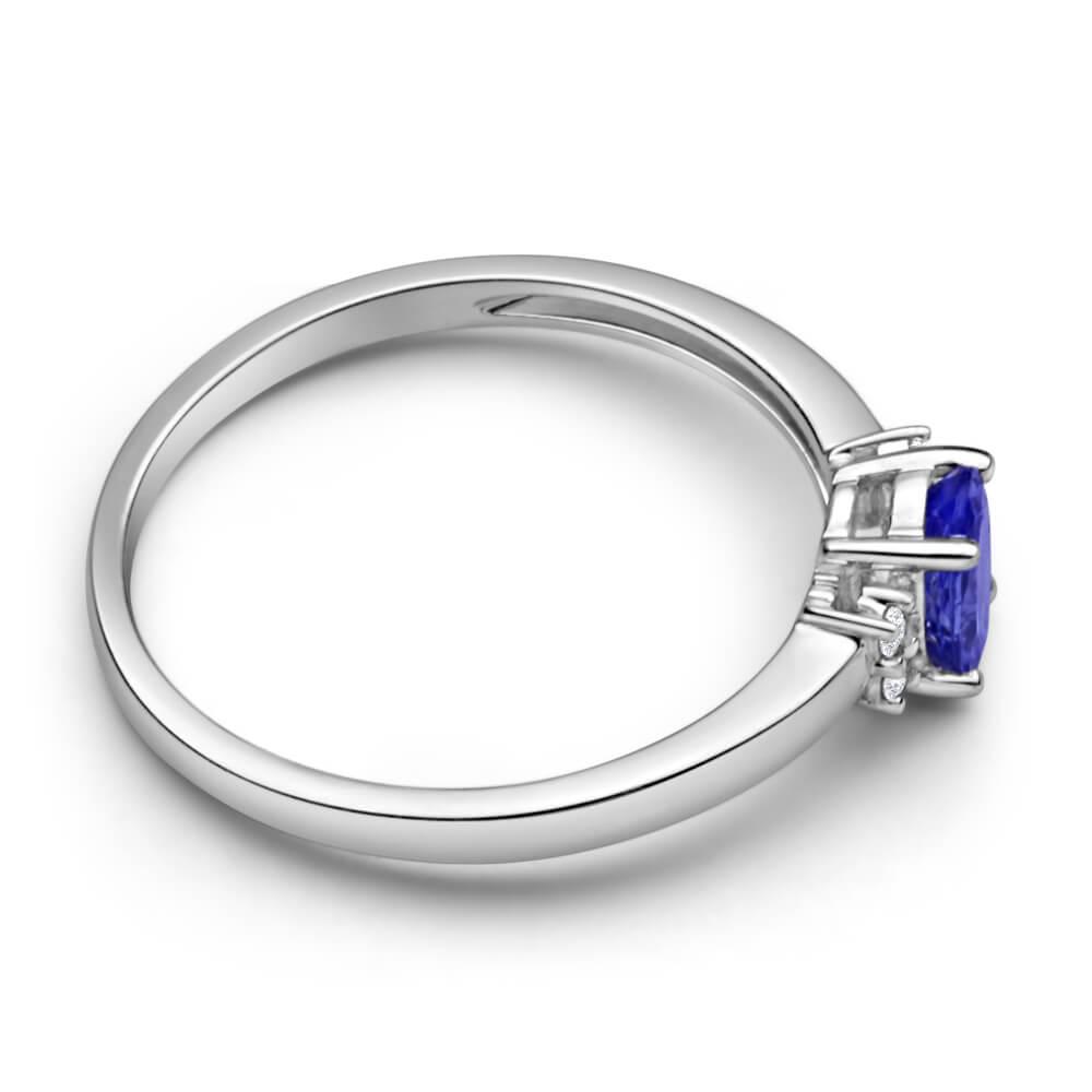 9ct White Gold Diamond + Tanzanite Ring