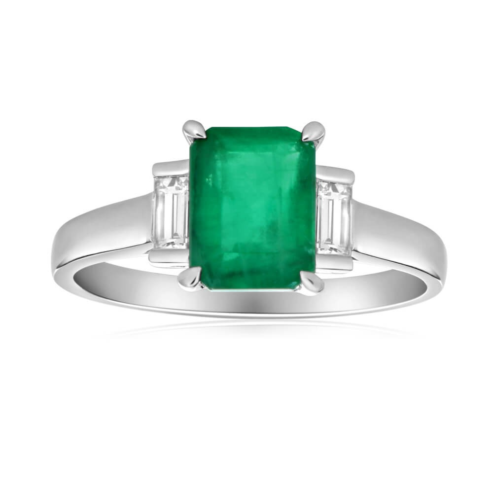 9ct White Gold 1.60 Carat Natural Emerald 8x6mm and Diamond 0.21ct Ring