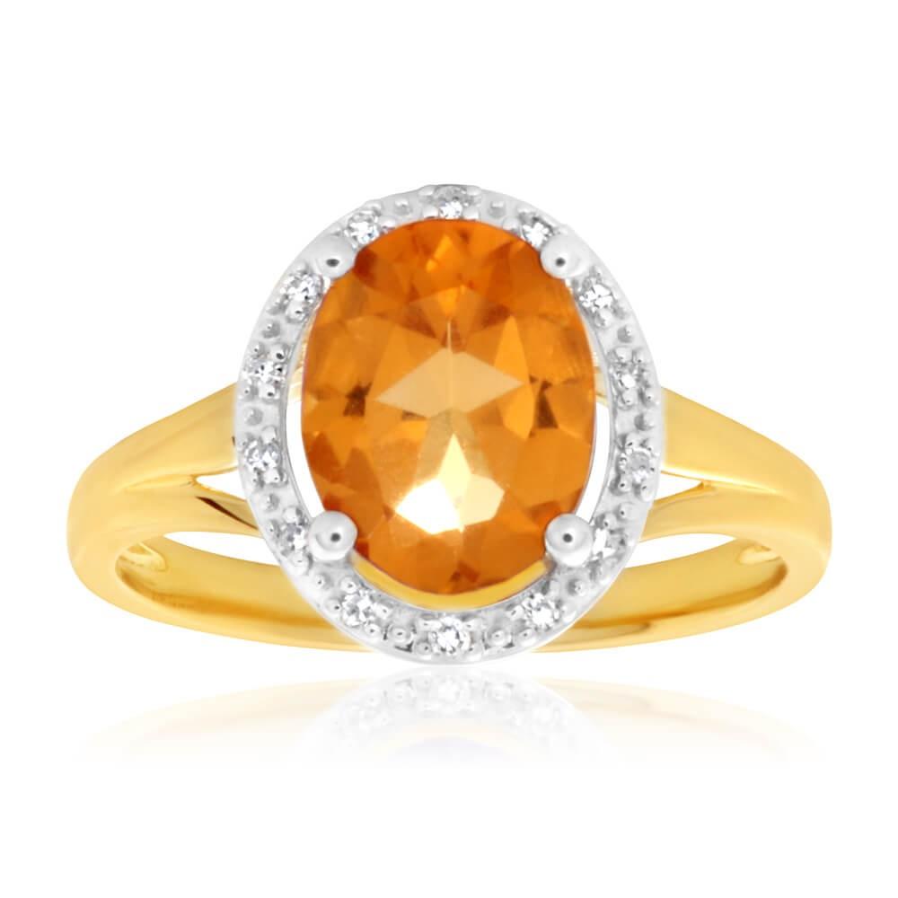 9ct Yellow Gold Citrine + Diamond Ring