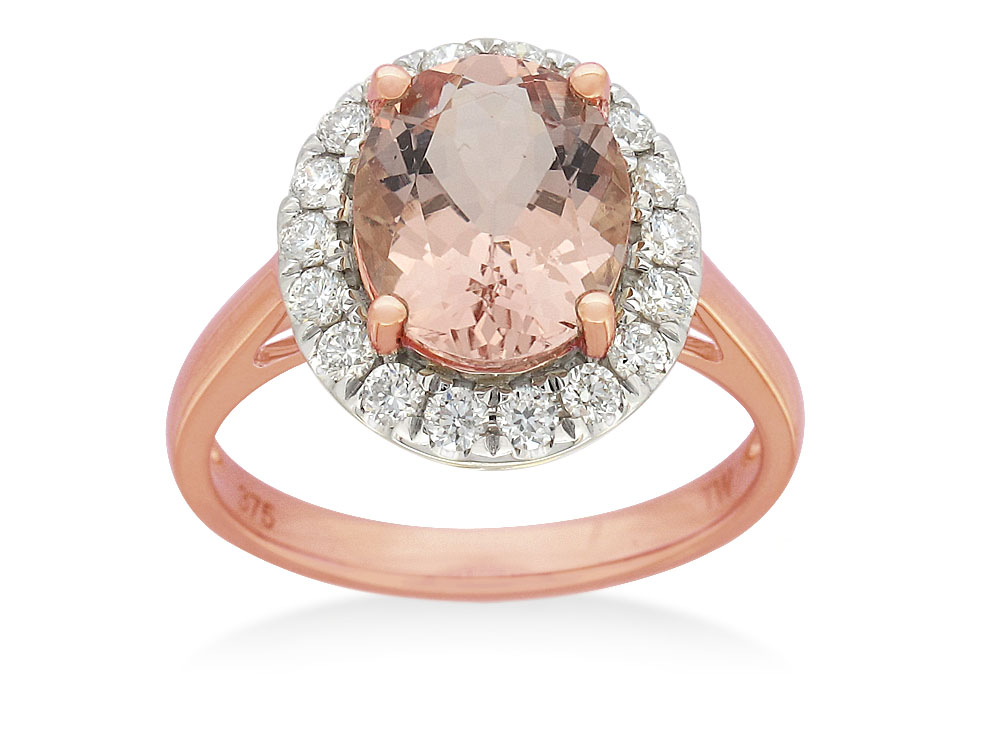 9ct Rose Gold Morganite 10x8mm Oval with Halo 0.41ct Diamonds