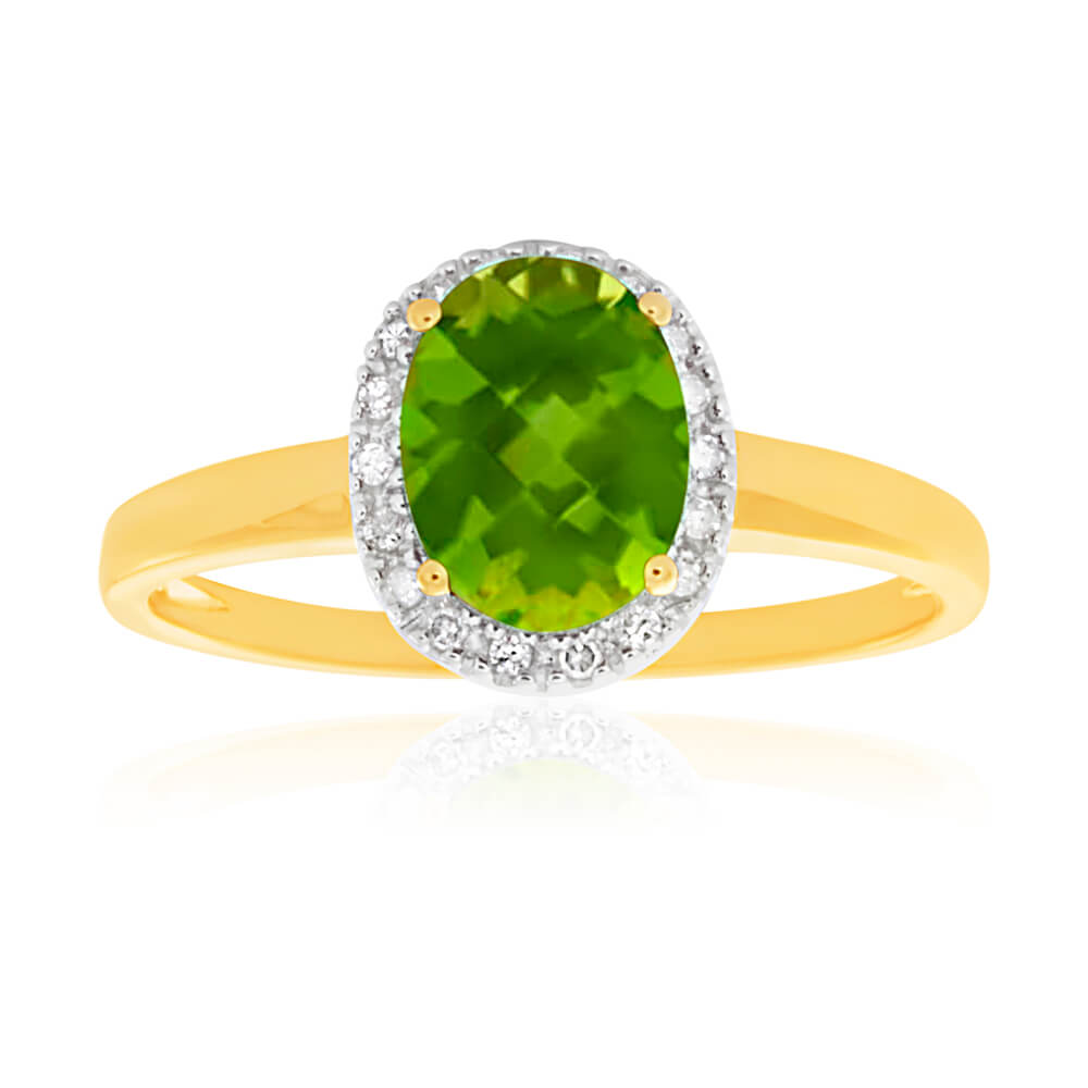 9ct Yellow Gold & White Gold Peridot and Diamond Halo Ring