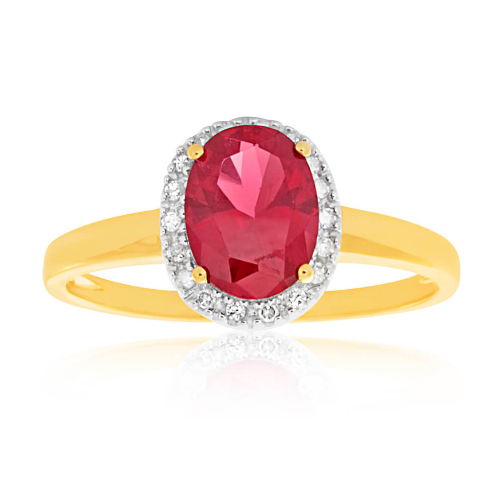 9ct Yellow Gold Created Ruby and Diamond Ring