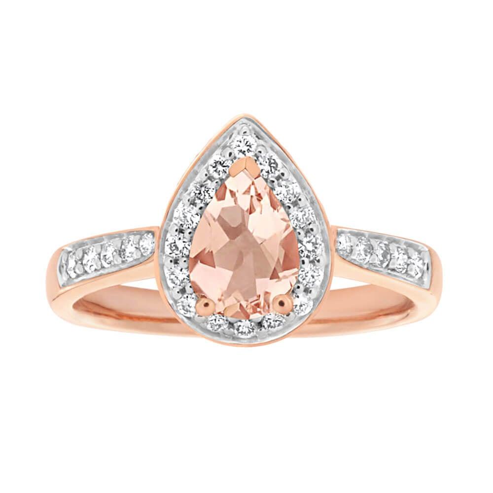 9ct Rose Gold 0.60 Carat 7x5mm Morganite and Diamond 0.20ct Ring
