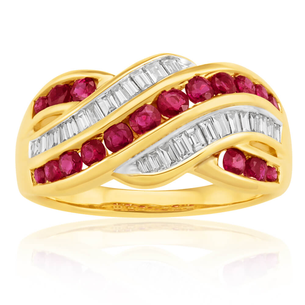 9ct Yellow Gold Natural Ruby 0.93ct and 1/3 Carat Diamond Wave Ring