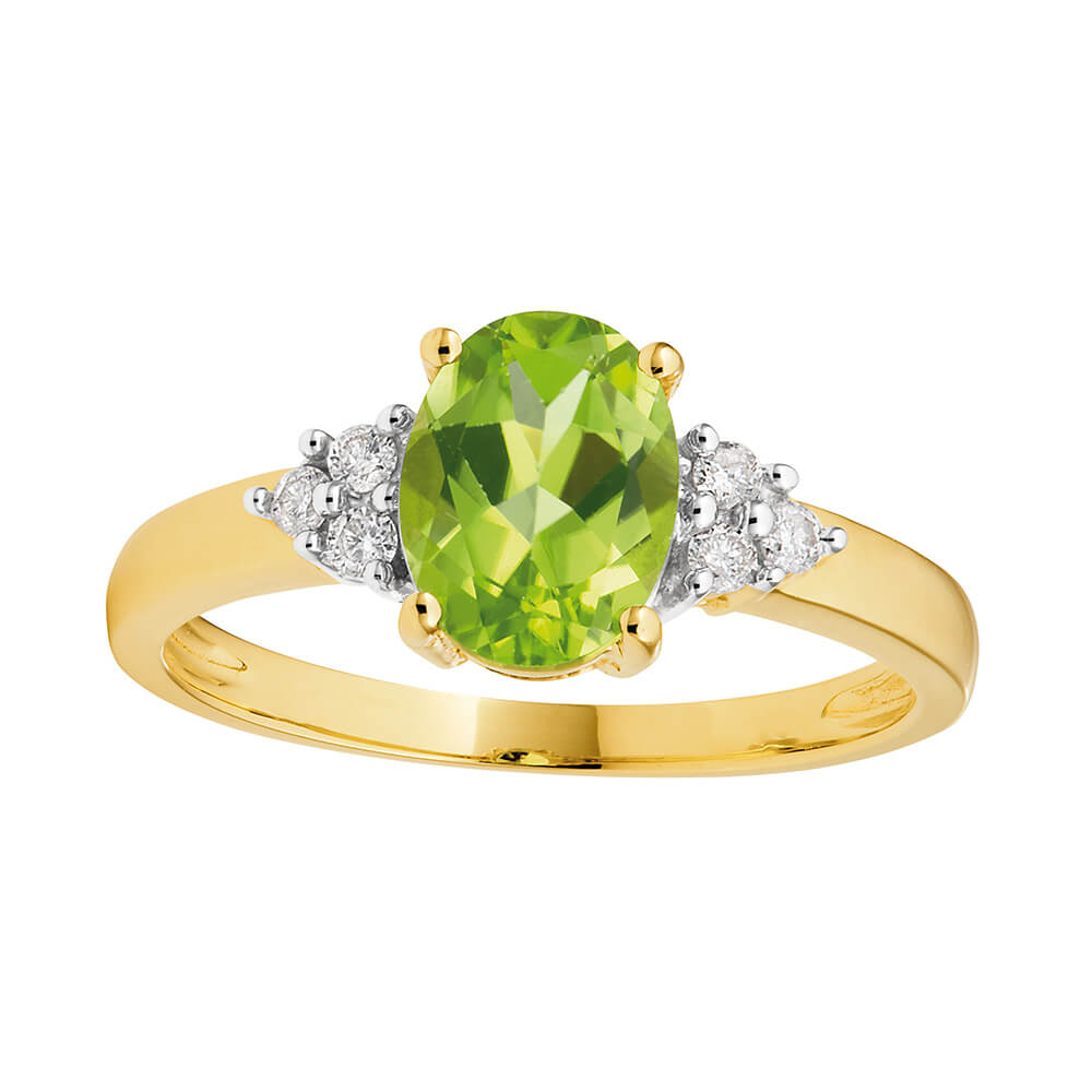 9ct Alluring Yellow Gold Diamond + Peridot Ring