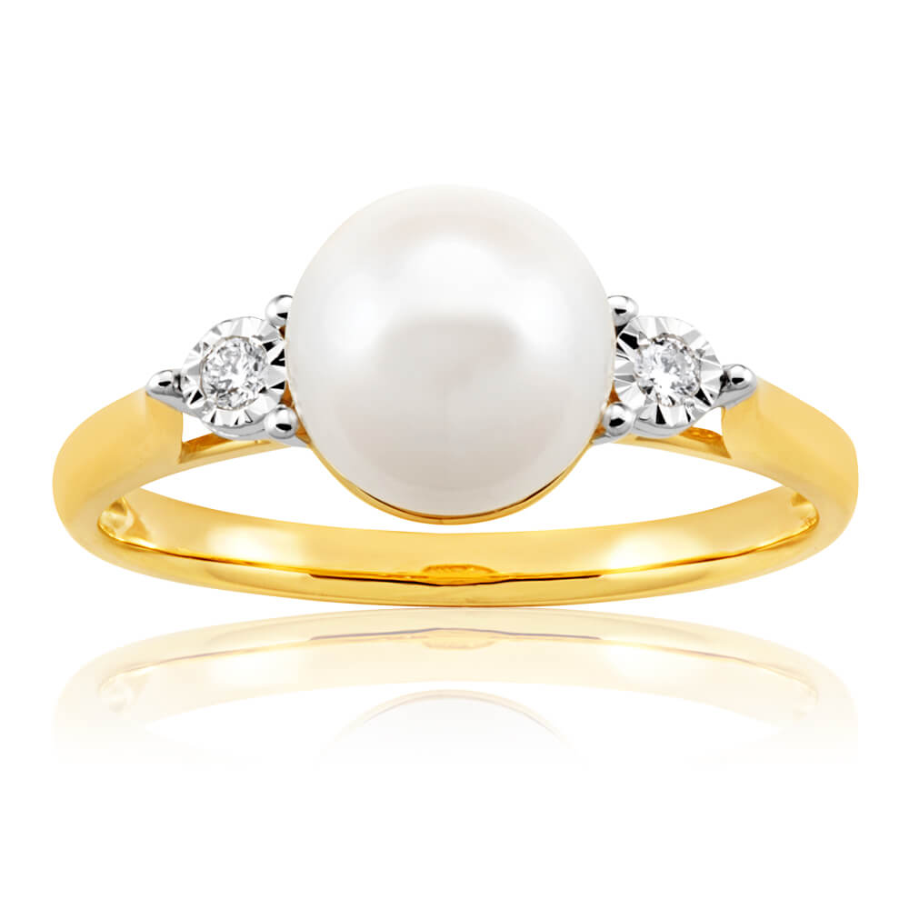 9ct Yellow Gold Magnificent Diamond + Pearl Ring