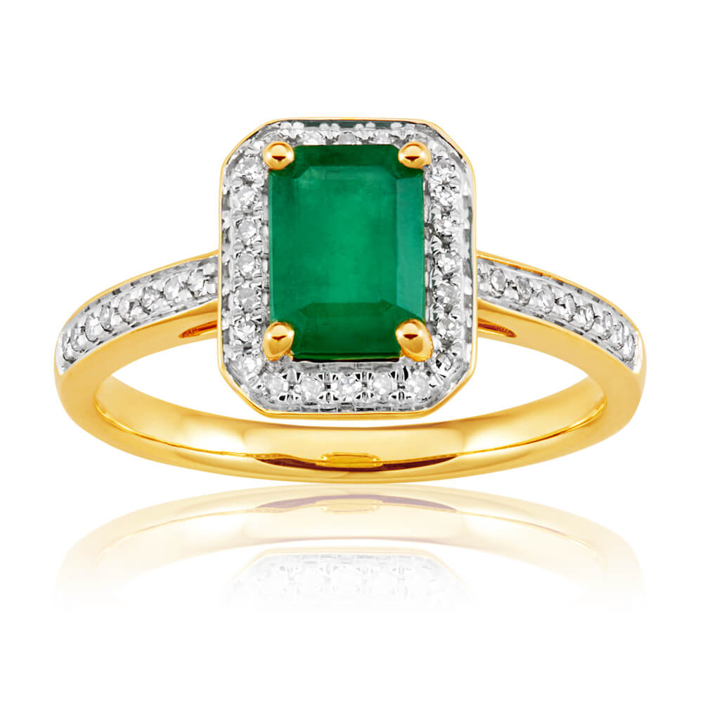 9ct Yellow Gold 1.00 Carat Natural Emerald 7x5mm and Diamond 0.15ct Ring