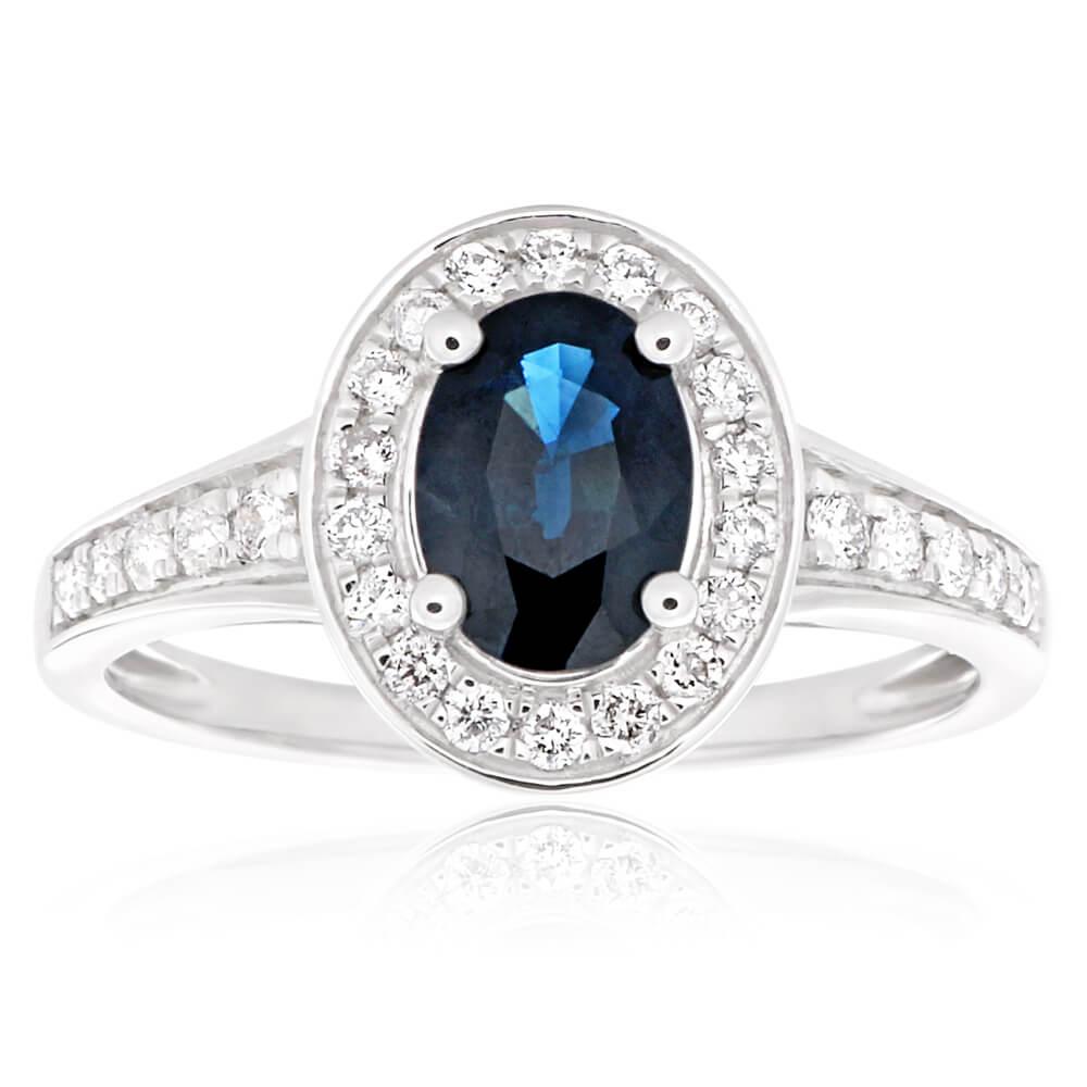 9ct White Gold Natural Dark Blue Sapphire 7x5mm + Diamond 0.26ct Ring