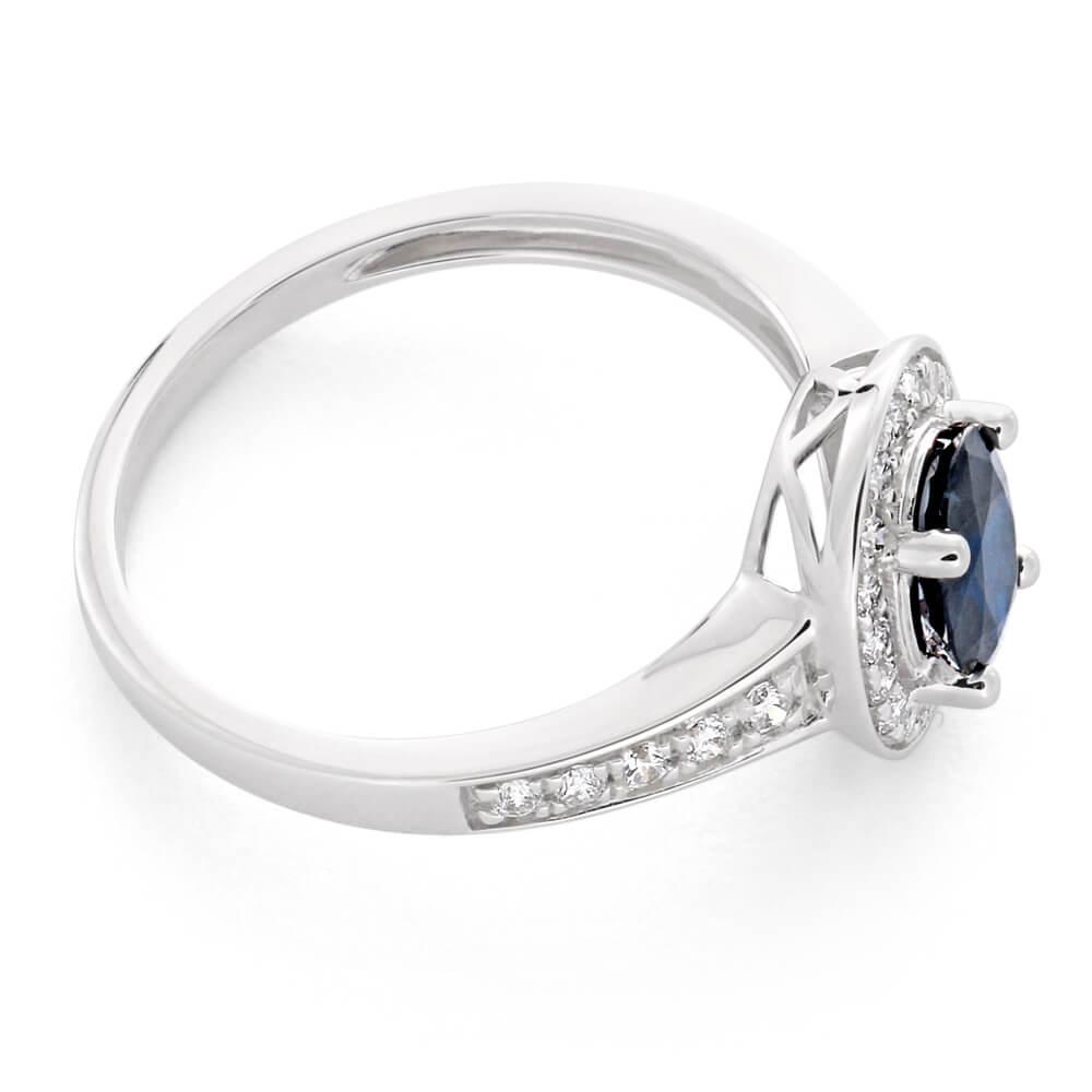9ct White Gold 1.05ct Natural Dark Blue Sapphire 7x5mm + Diamond 0.26ct Ring