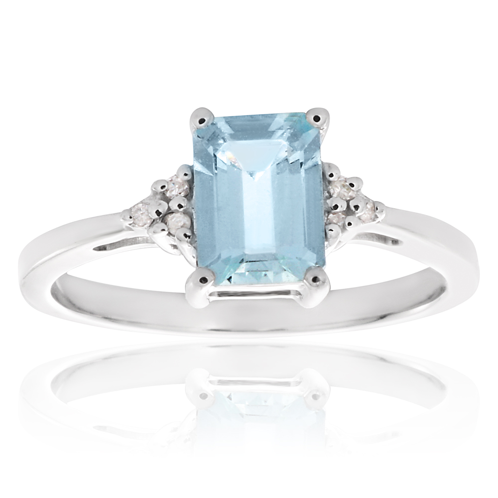 9ct White Gold Emerald Cut Aquamarine + Diamond Ring