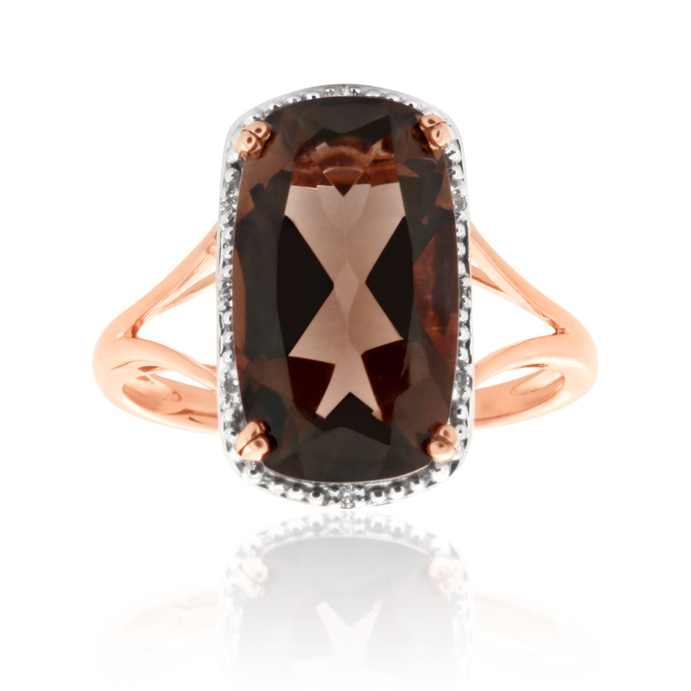 9ct Rose Gold Smokey Quartz and Diamond Ring