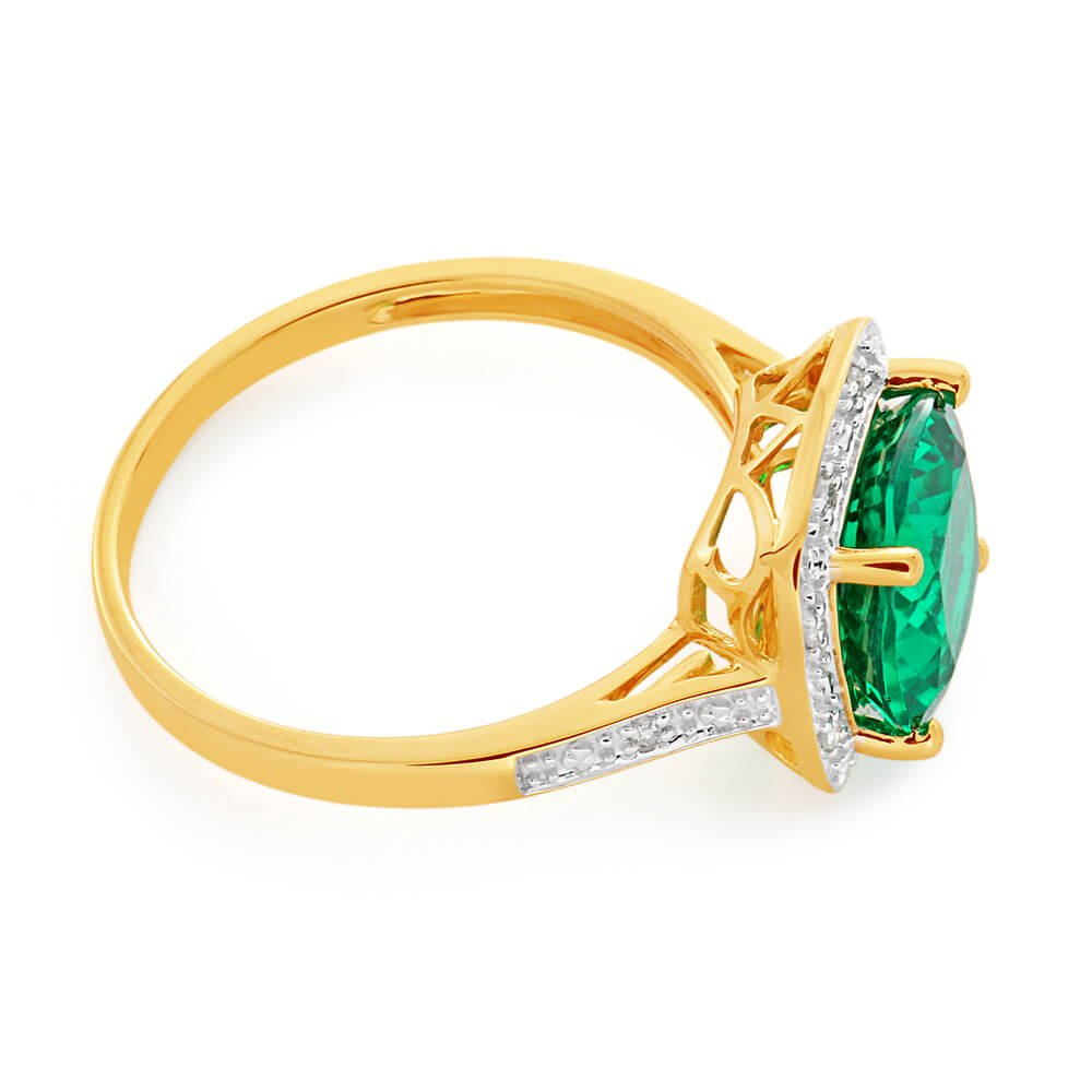 9ct Yellow Gold Cushion Cut Created Emerald 9mm and Diamond Ring