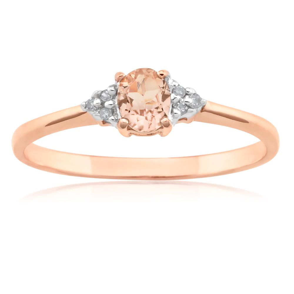 9ct Rose Gold Morganite Ring with Diamonds