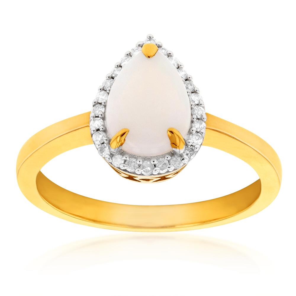 9ct Yellow Gold Opal & Diamond Pear Shape Ring