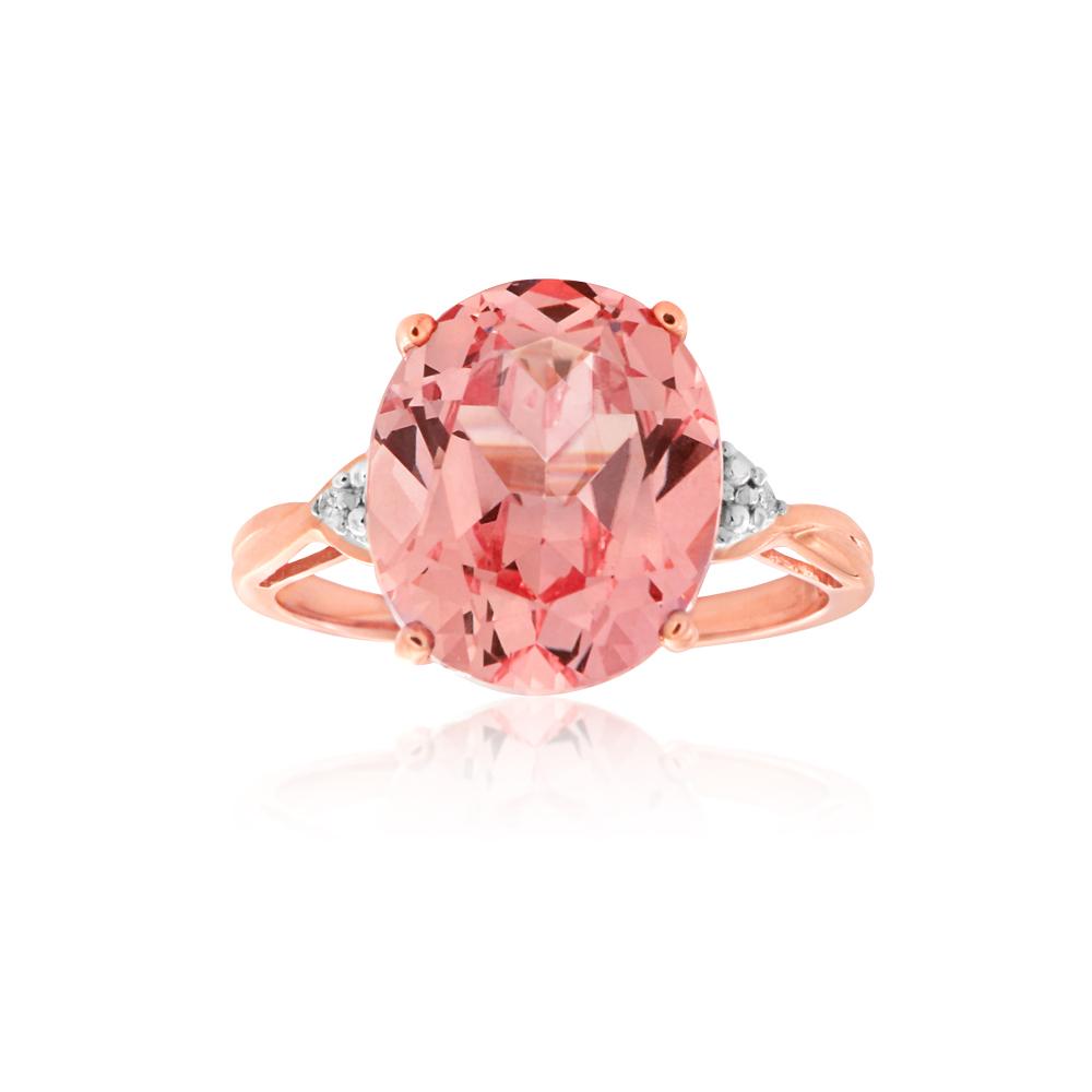 9ct Rose Gold Created Peach Sapphire & Diamond Ring