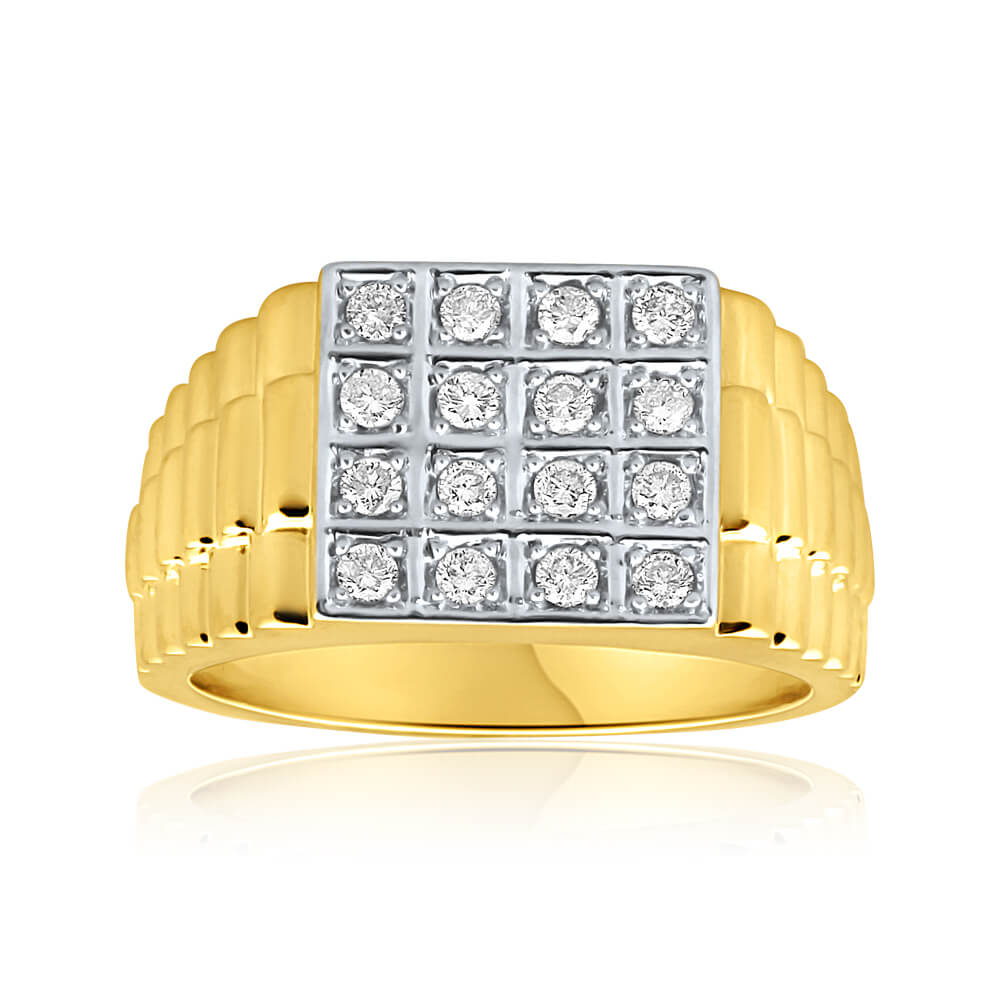 9ct Yellow Gold Diamond Magnificent Ring