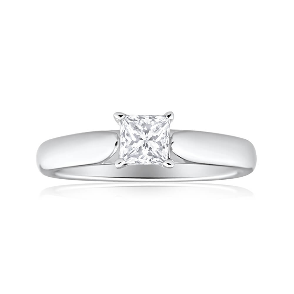 18ct White Gold Solitaire Ring With 0.5 Carat 4 Claw Set Diamond