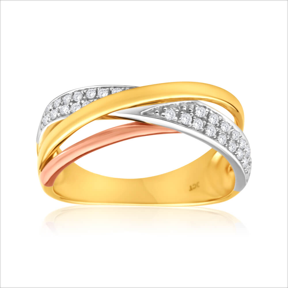 9ct Yellow Gold, White Gold & Rose Gold Diamond Ring  (TW+15PT APPRX 30 BRIL)