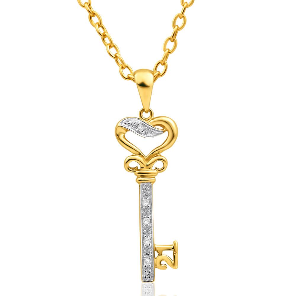 9ct Yellow Gold Diamond Set '21' Key Pendant