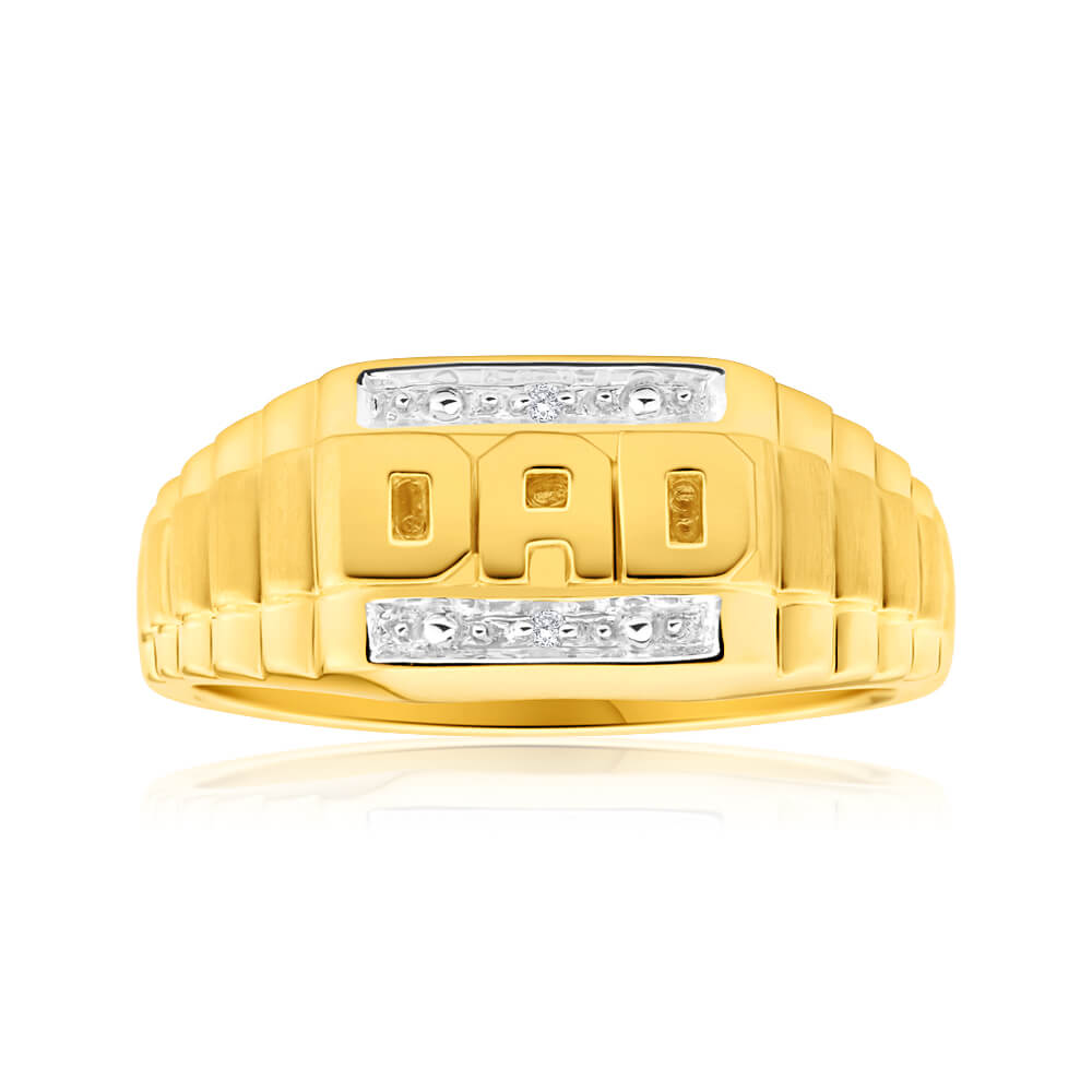 9ct Yellow Gold & White Gold 'Dad' Diamond Ring