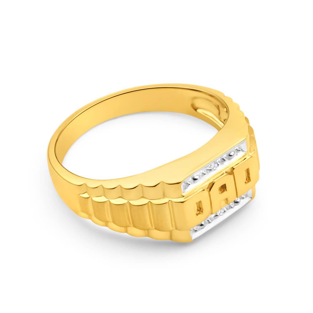 9ct Yellow Gold & White Gold 'Dad' Diamond Ring